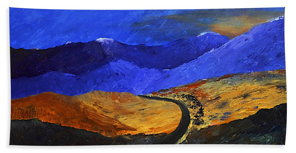 Mountains Bath Sheet featuring the painting Alpine Vista by Dick Bourgault