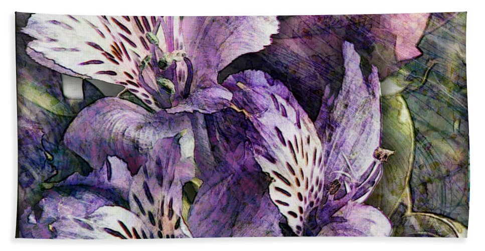 Flowers Bath Sheet featuring the digital art Alstroemeria by Barbara Berney