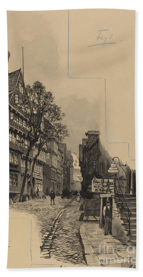 Hand Towel featuring the drawing Alte Strasse by Fritz Stoltenberg