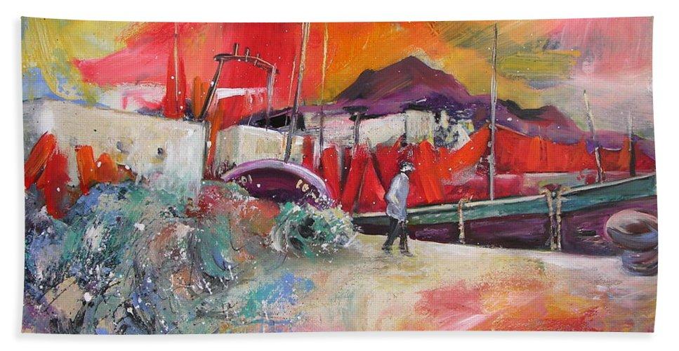 Seascape Painting Altea Spain Harbour Bath Sheet featuring the painting Altea Harbour Spain by Miki De Goodaboom