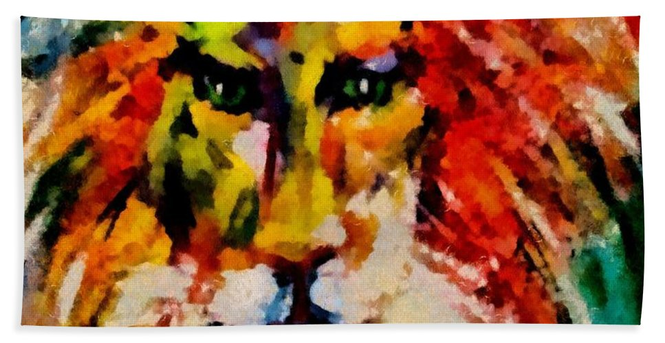 Lion Hand Towel featuring the mixed media Alter Ego by Dragica Micki Fortuna