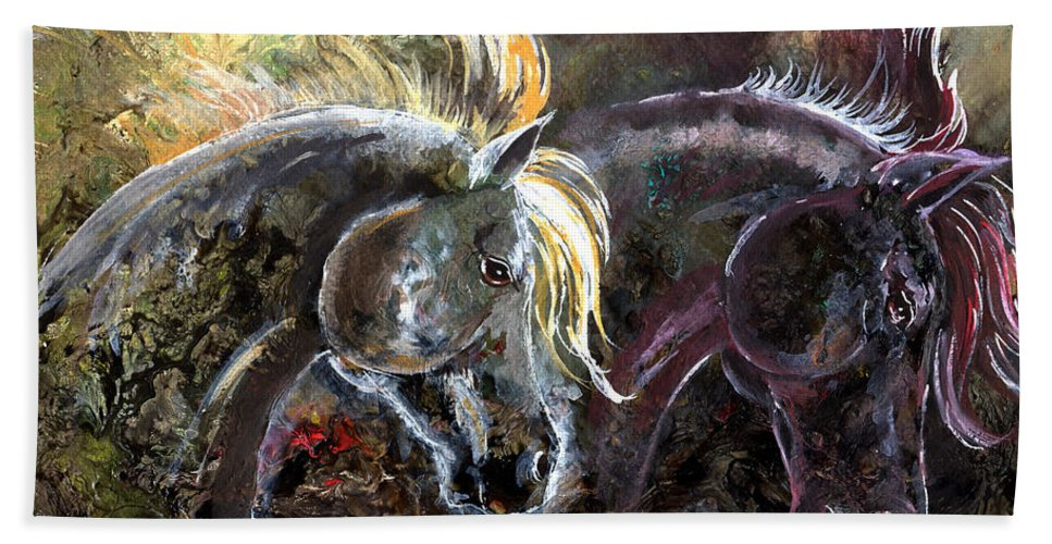 Horse Hand Towel featuring the painting Alter Ego by Sherry Shipley