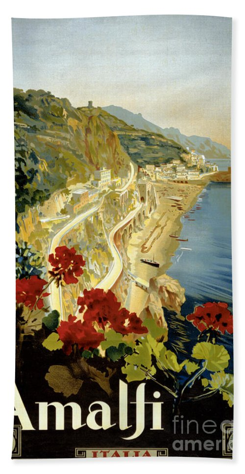 Amalfi Hand Towel featuring the painting Amalfi Italy Italia Vintage Poster Restored by Carsten Reisinger