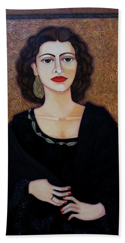 Portrait Hand Towel featuring the painting Amalia Rodrigues - Music Born In The Soul by Madalena Lobao-Tello