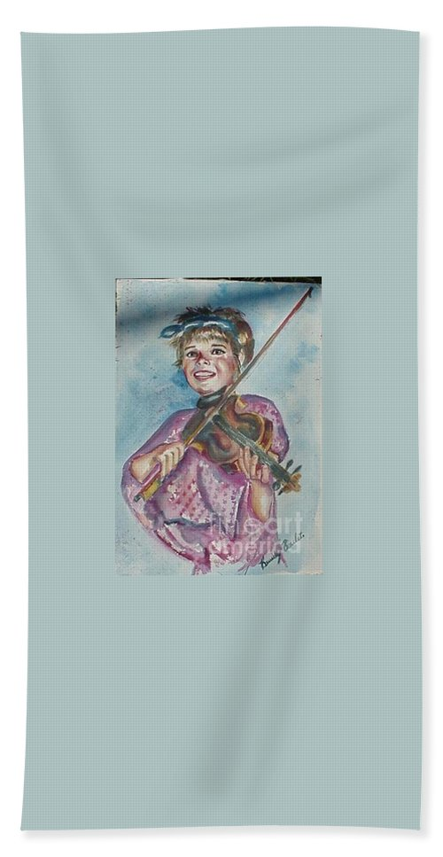Watercolor Hand Towel featuring the painting Amanda by Beverly Boulet