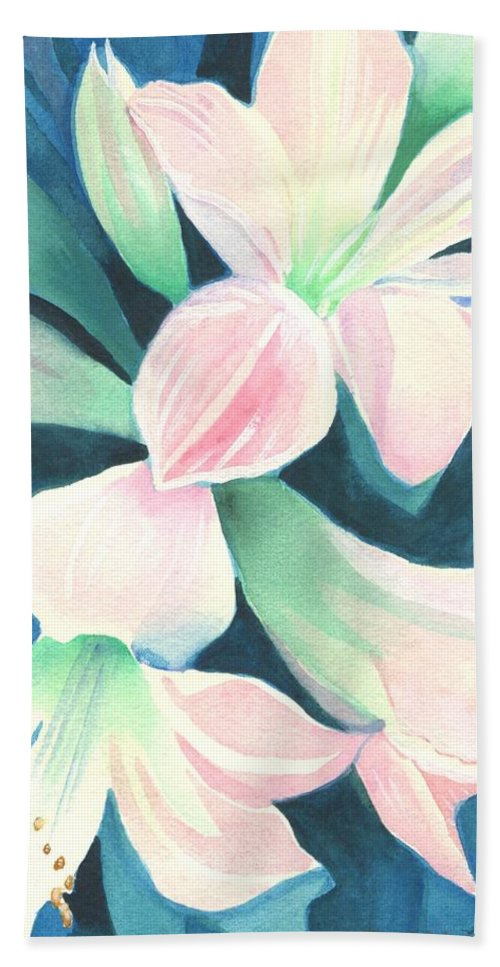 Flower Bath Towel featuring the painting Amaryllis by Helena Tiainen