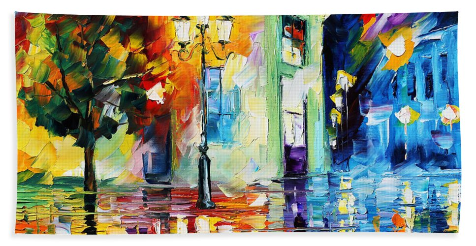 Afremov Hand Towel featuring the painting Amazing Night by Leonid Afremov