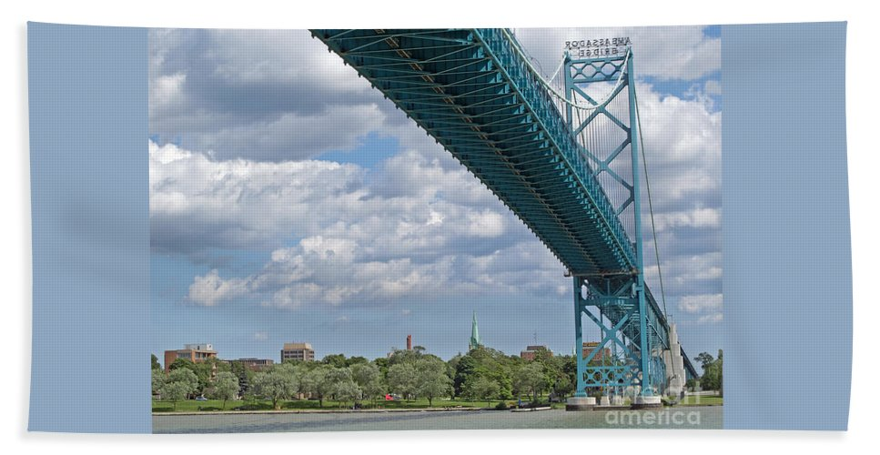 Canada Hand Towel featuring the photograph Ambassador Bridge - Windsor Approach by Ann Horn