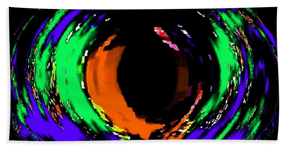 Abstract Hand Towel featuring the digital art Amber Eye by Will Borden