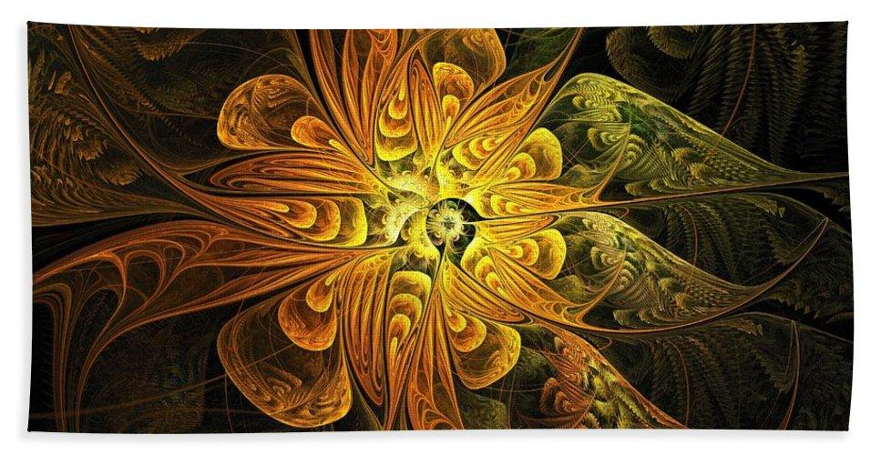 Digital Art Hand Towel featuring the digital art Amber Light by Amanda Moore