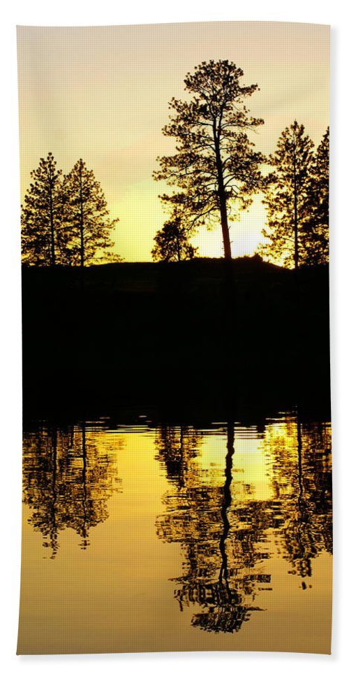 Nature Hand Towel featuring the photograph Amber Sunset by Ben Upham III