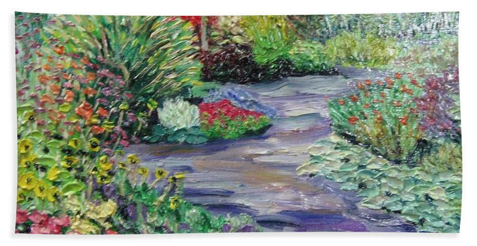 Park Hand Towel featuring the painting Amelia Park Blossoms by Richard Nowak