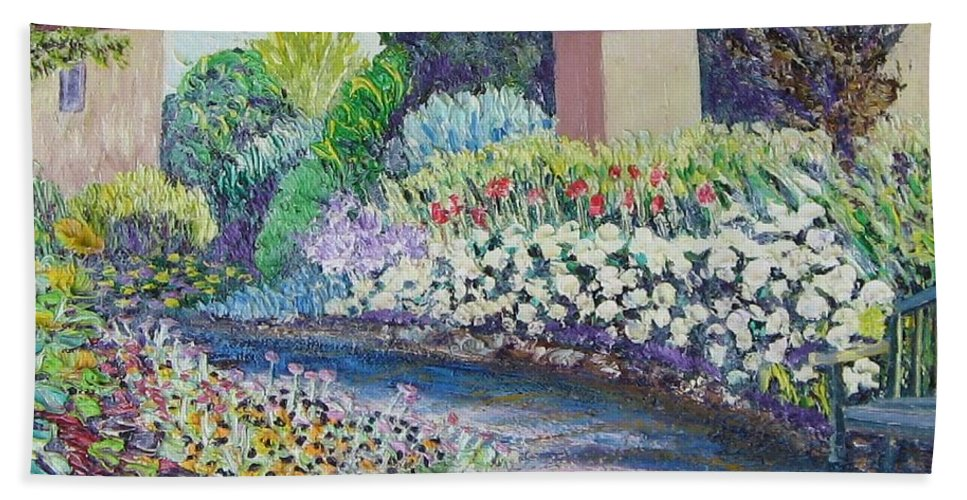 Flowers Bath Towel featuring the painting Amelia Park Pathway by Richard Nowak