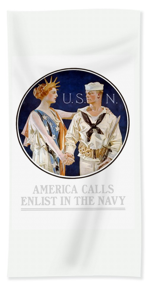 Navy Bath Towel featuring the painting America Calls Enlist In The Navy by War Is Hell Store