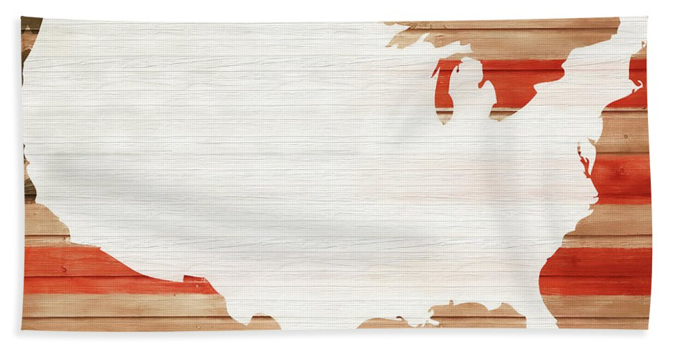 America Rustic Map On Wood Hand Towel featuring the mixed media America Rustic Map On Wood by Dan Sproul