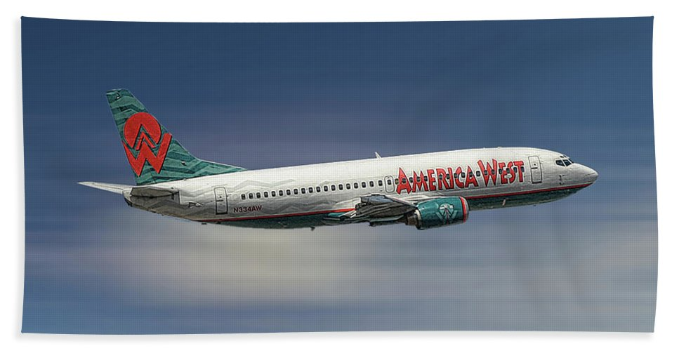 America West Bath Towel featuring the mixed media America West Boeing 737-300 by Smart Aviation
