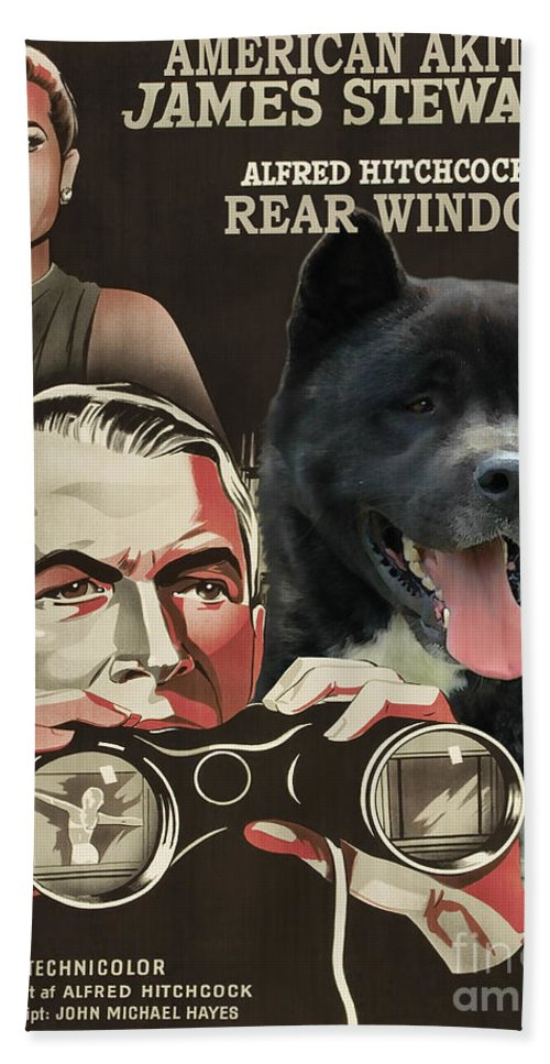 American Akita Hand Towel featuring the painting American Akita Art Canvas Print - Rear Window Movie Poster by Sandra Sij