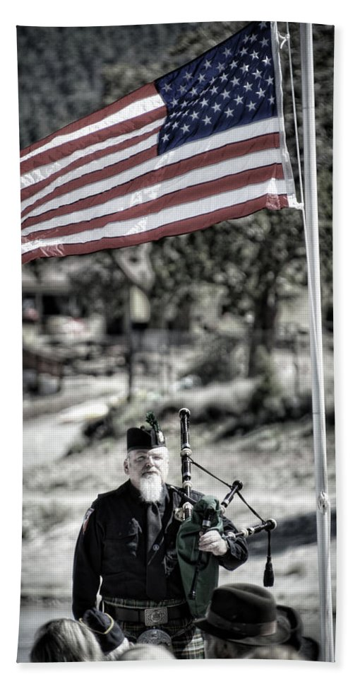 Music Bath Sheet featuring the photograph American Bagpiper by Douglas Craig