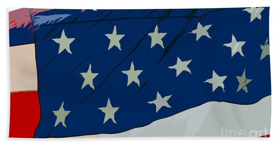 Flag Hand Towel featuring the painting American Beauty by David Lee Thompson