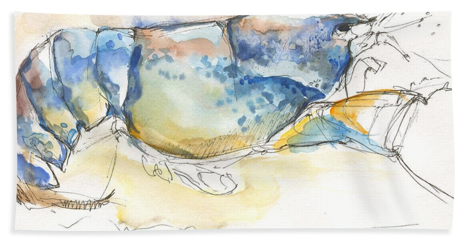 Lobster Bath Towel featuring the painting American Blue Lobster by Sarah Madsen