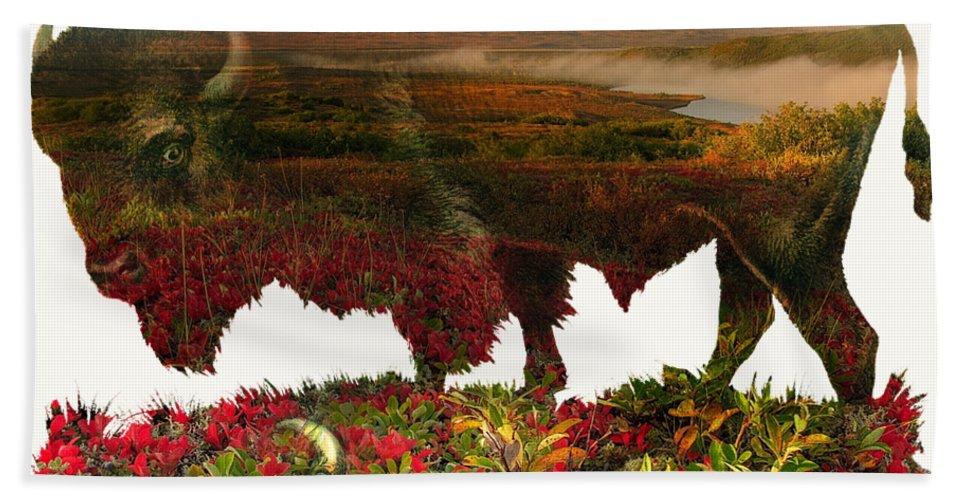 Buffalo Bath Sheet featuring the painting American Buffalo by Gary Grayson