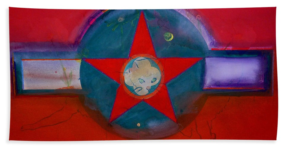 Star Bath Towel featuring the painting American Chinoiserie Cat by Charles Stuart