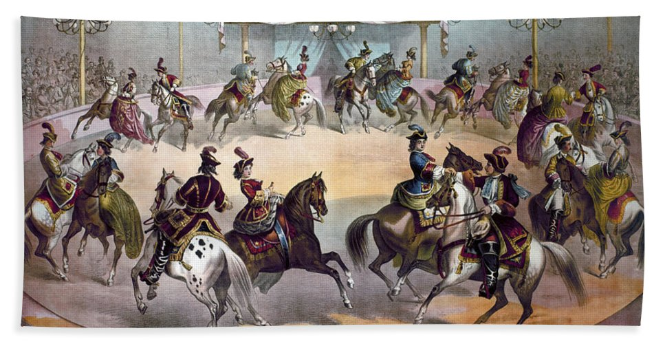1872 Bath Sheet featuring the photograph American Circus, C1872 by Granger