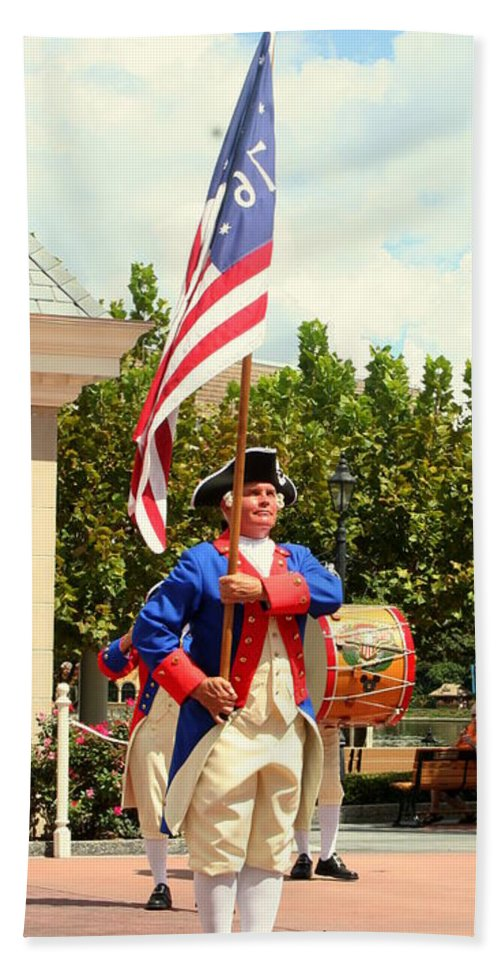 Fife And Drum Corps Bath Sheet featuring the photograph American Fife And Drum Corp Flag Carrier by Anita Hiltz