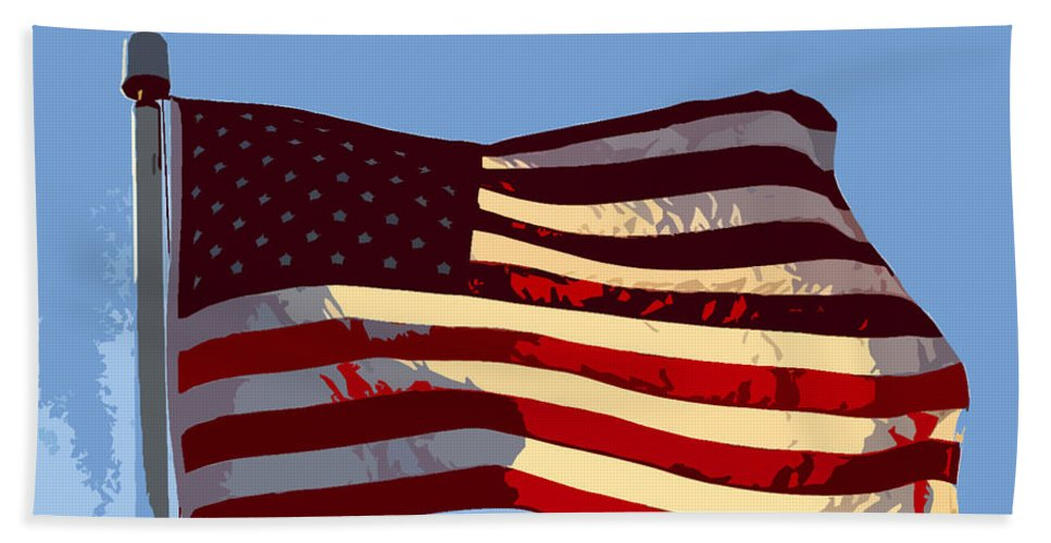 American Flag Bath Sheet featuring the painting American Flag by David Lee Thompson