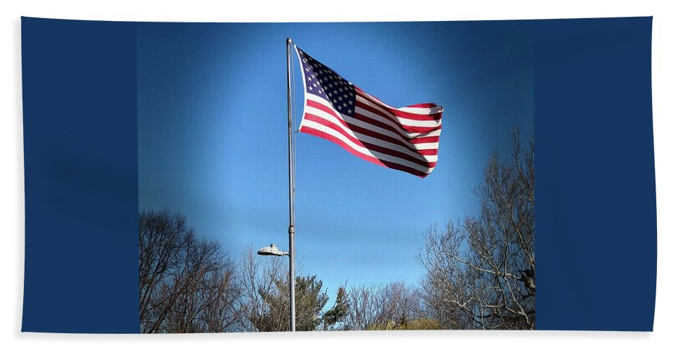 American Flag Hand Towel featuring the photograph American Flag by Lisa Soreo