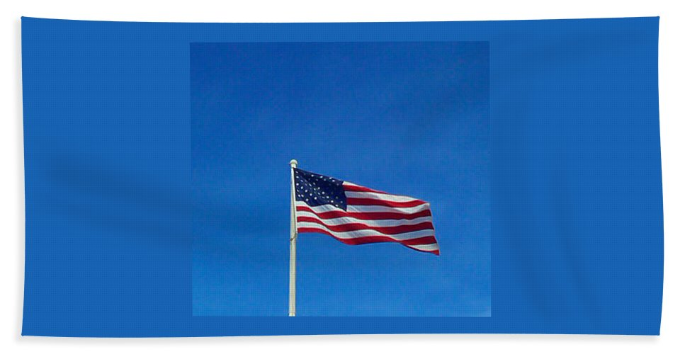 Pat Turner Hand Towel featuring the photograph American Flag by Pat Turner