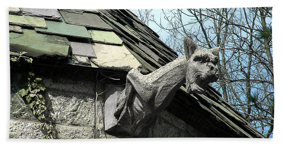 Architecture Hand Towel featuring the photograph American Gargoyle by RC DeWinter