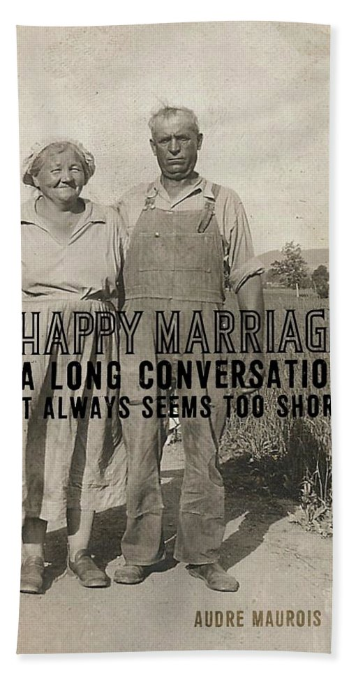Happy Bath Sheet featuring the photograph American Gothic Quote by JAMART Photography