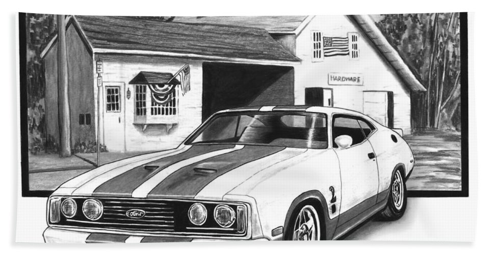 American Heartland 1978 Ford Cobra Bath Sheet featuring the drawing American Heartland by Peter Piatt