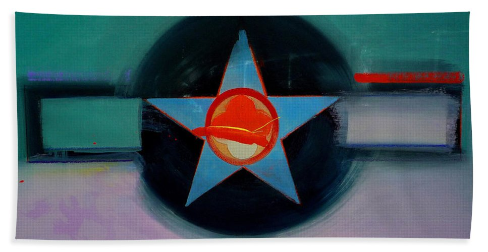 Star Bath Sheet featuring the painting American Landscape by Charles Stuart