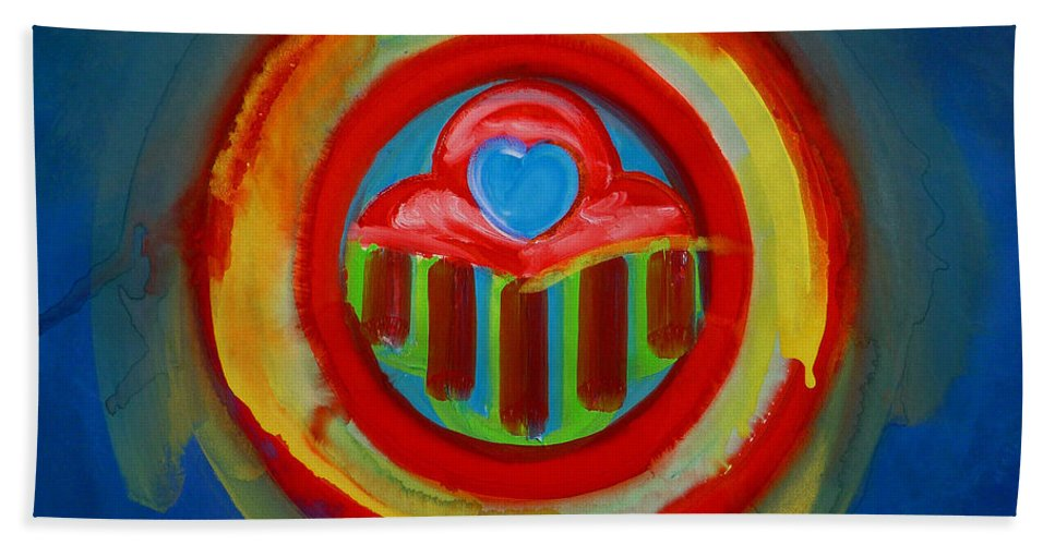 Button Bath Towel featuring the painting American Love Button by Charles Stuart