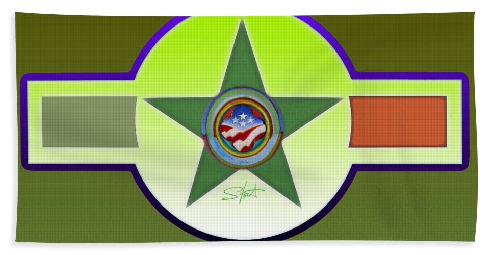 Insignia Bath Sheet featuring the painting American Olive by Charles Stuart