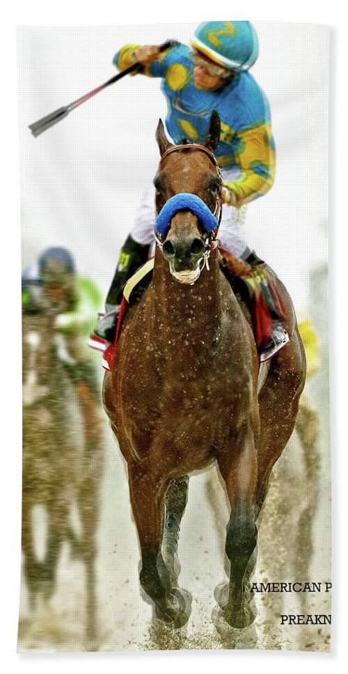 American Pharoah Bath Sheet featuring the mixed media American Pharoah And Victor Espinoza Win The 2015 Preakness Stakes. by Thomas Pollart