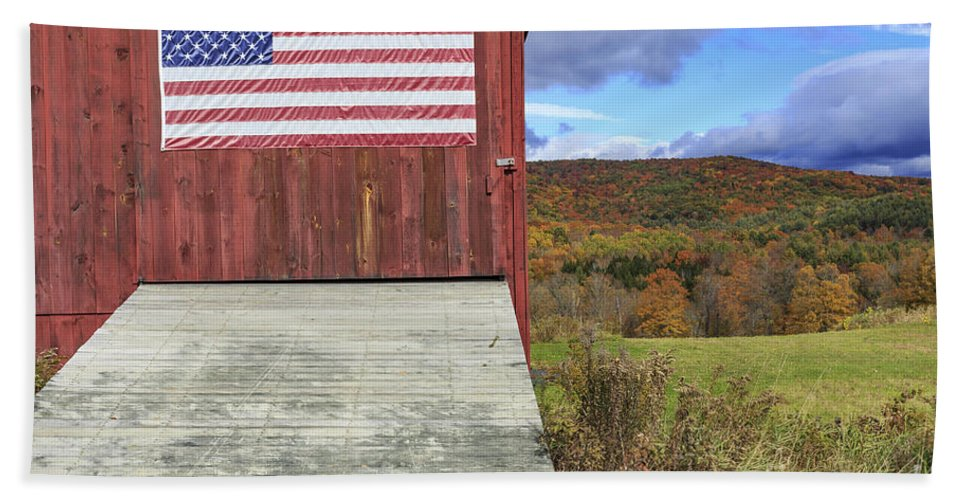 Vermont Hand Towel featuring the photograph American Pride by Edward Fielding