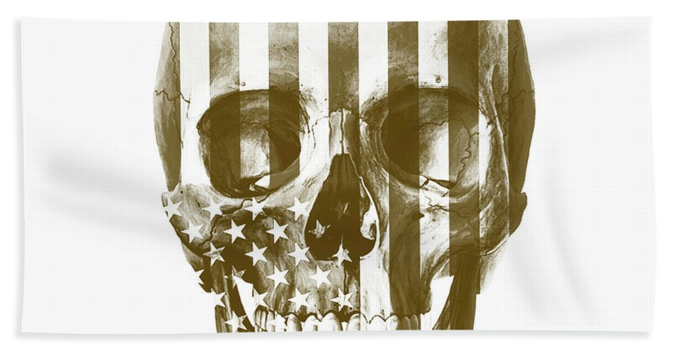 Skull Bath Sheet featuring the mixed media American Skull Beige by Del Art