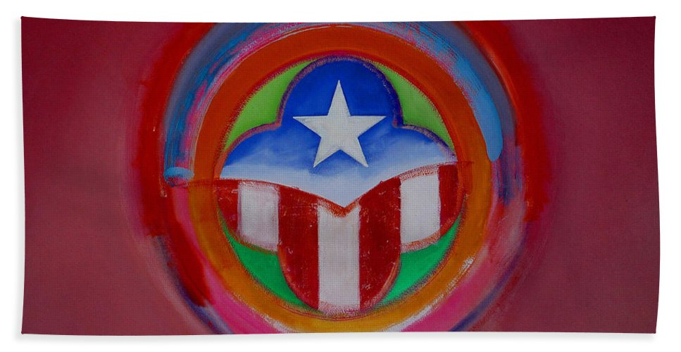 Button Hand Towel featuring the painting American Star Button by Charles Stuart
