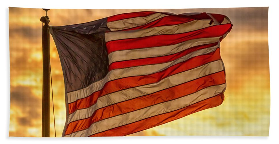 Flag Hand Towel featuring the photograph American Sunset On Fire by James BO Insogna