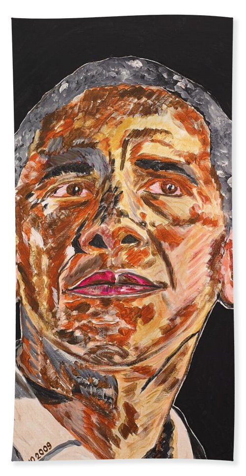 American Bath Towel featuring the painting American by Valerie Ornstein