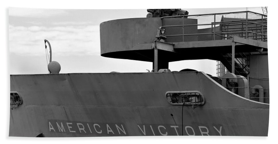 Victory Ship Hand Towel featuring the photograph American Victory Ship by David Lee Thompson