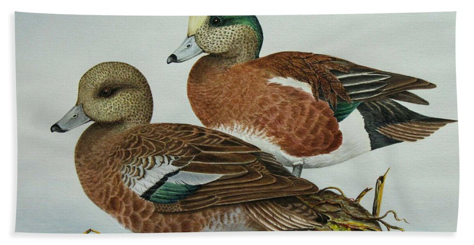 Ducks Hand Towel featuring the painting American Widgeons by Elaine Booth-Kallweit