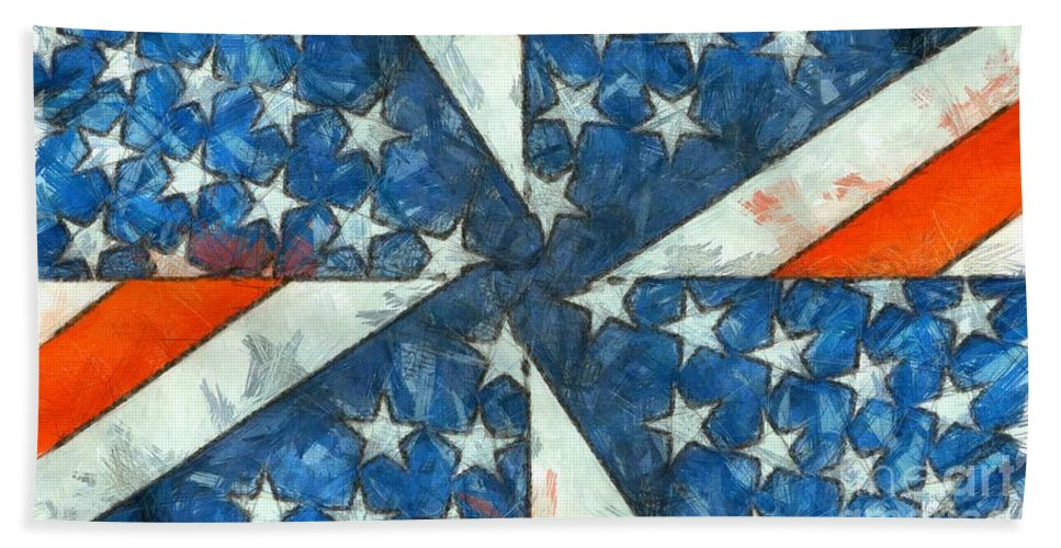 Usa Hand Towel featuring the digital art Americana Abstract by Edward Fielding