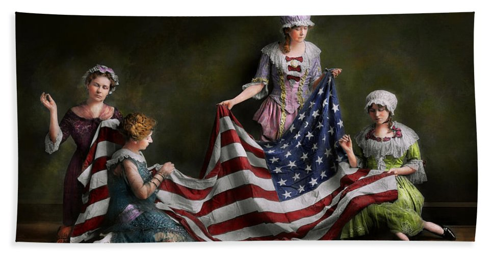 American Flag Hand Towel featuring the photograph Americana - Flag - Birth Of The American Flag 1915 by Mike Savad