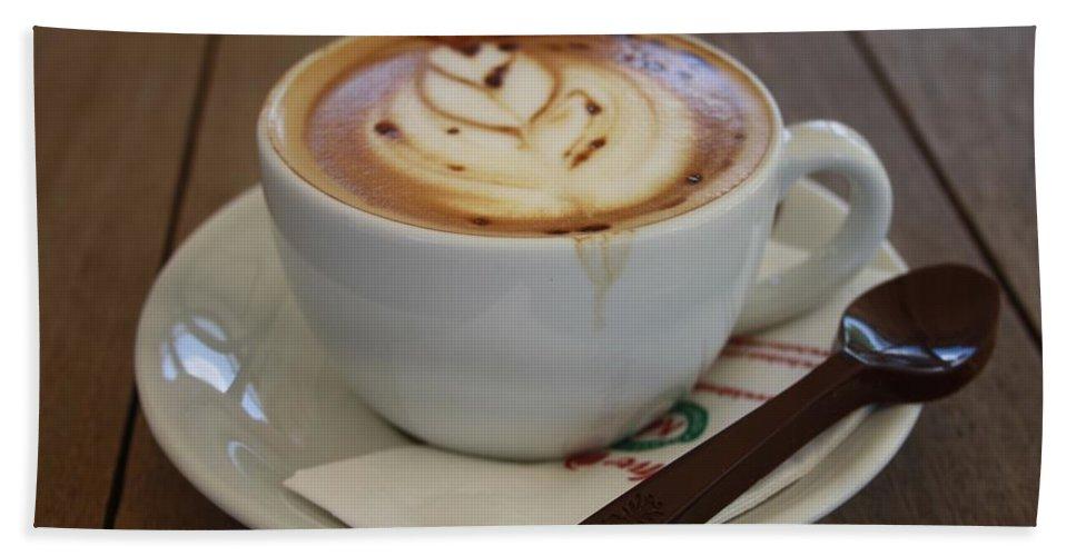 Caff Americano Bath Sheet featuring the photograph Americano Coffee With Tulip Design by Taiche Acrylic Art