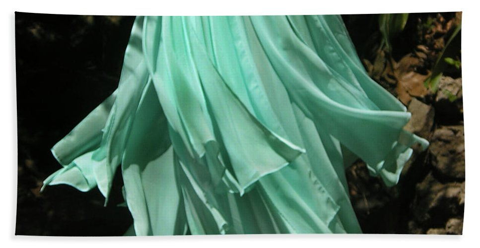 Ameynra Hand Towel featuring the photograph Ameynra Design Aqua-green Chiffon Skirt by Sofia Metal Queen