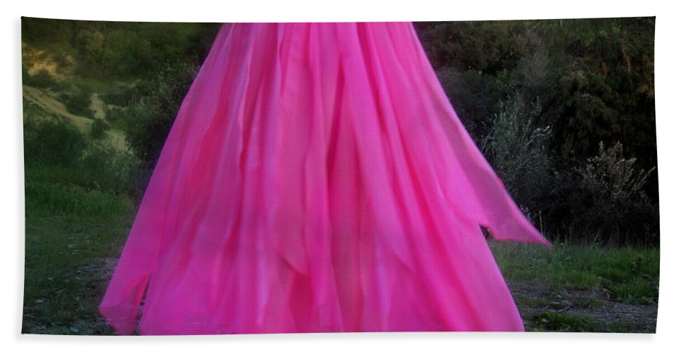 Ameynra Hand Towel featuring the photograph Ameynra Design Pink Chiffon Petal Skirt by Sofia Metal Queen